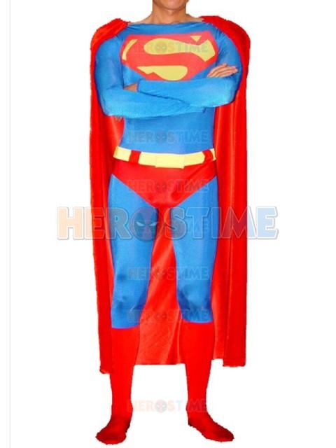 Classic Design Superman Superhero Costume halloween cosplay adult spandex superman costumes the most popular free shipping