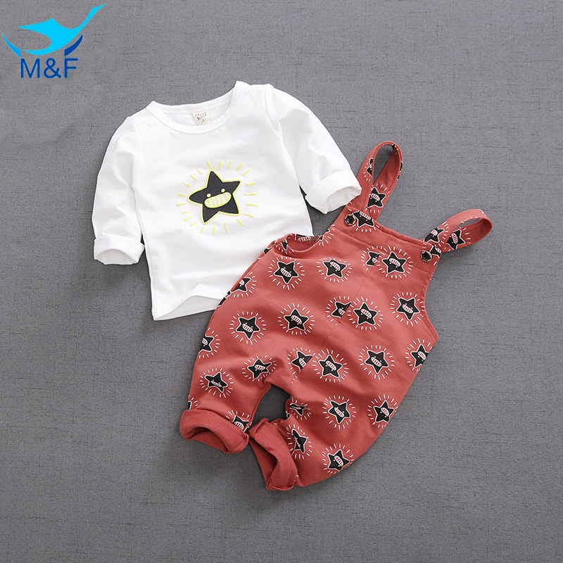 M&F Spring Baby Boy Girl Clothes Sets Long Sleeve 2pc T-shirt+overalls Newborn Infant Clothing Set Cute Star Kids Children Suits children s suit baby boy clothes set cotton long sleeve sets for newborn baby boys outfits baby girl clothing kids suits pajamas
