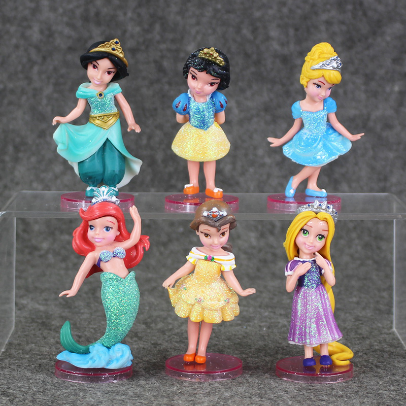 6pcs lot 9cm Princess Snow White Aurora Ariel Cinderella Belle PVC Figure font b Toy b