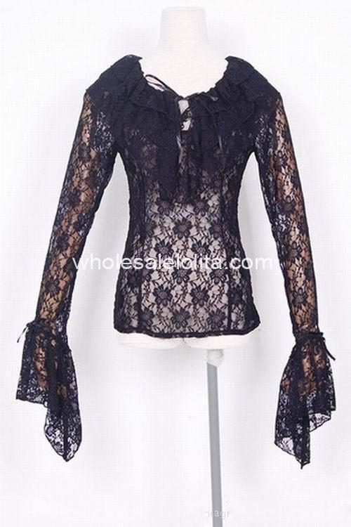 Custom Made BlouseBlack Net Gothic Lolita Blouse  Sweet  Lace Lolita Shirt Satin