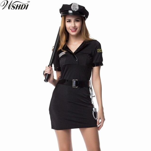 2018 nuevo negro Sexy mujer policía oficial de policía traje adulto  Halloween Cosplay fiesta de disfraces 86324d04628