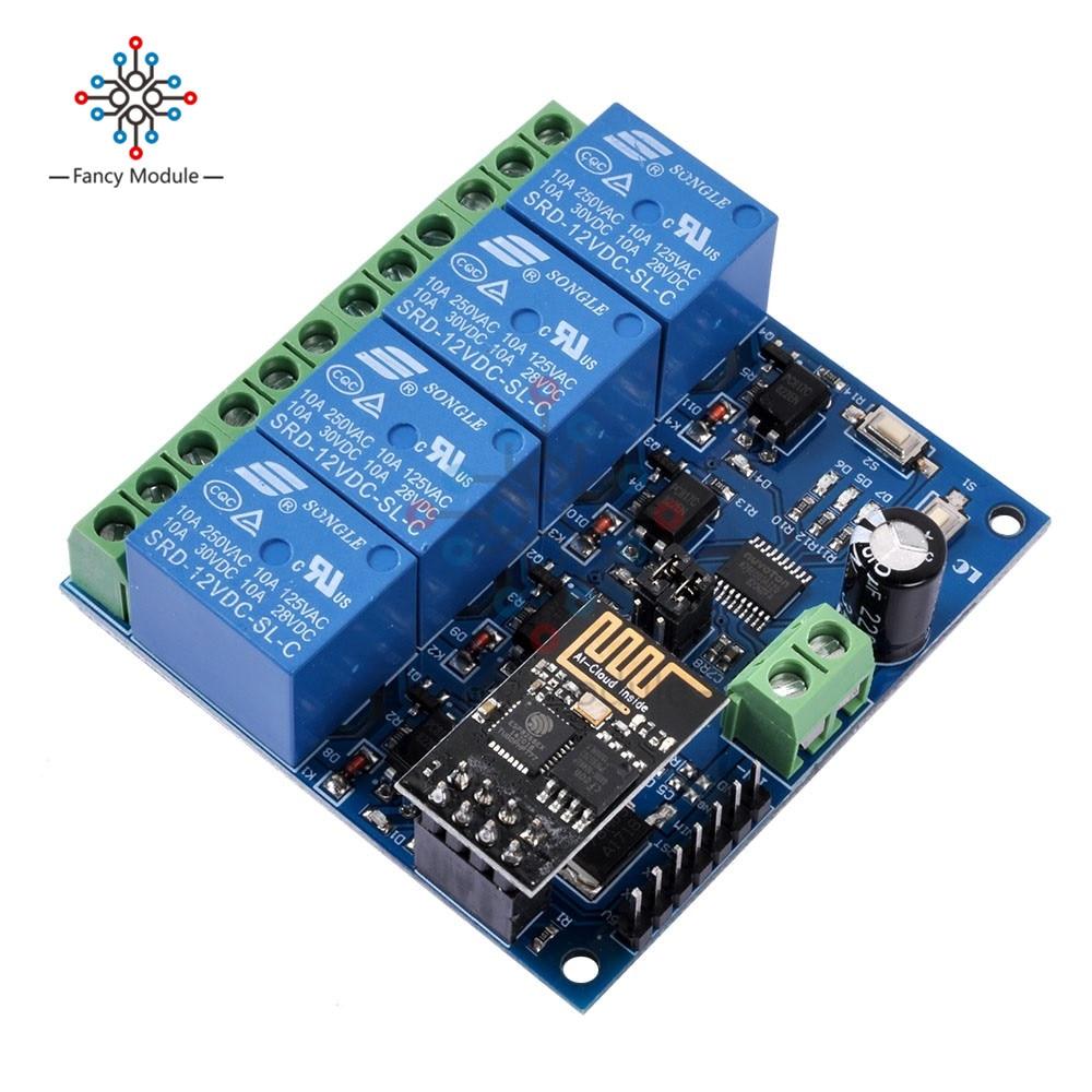 Diymore DC 12V ESP8266 4 WIFI реле канала Модуль и ESP-01 WIFI модуль для IOT умный дом интеллектуальная мебель APP контроллер