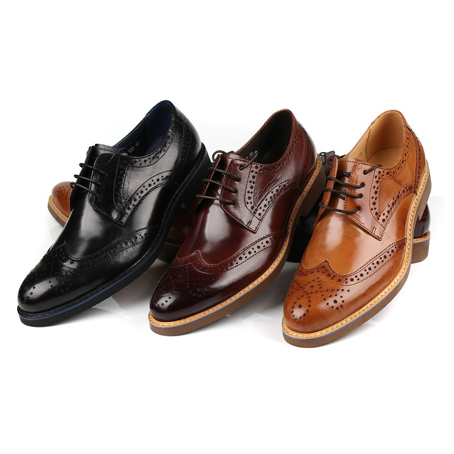 Men Genuine Leather Bullock Shoes Lace Up For Office Career Dress Casual
