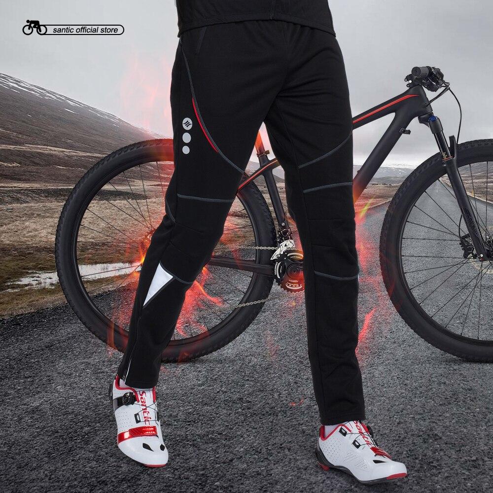 d7610aba995ee Santic Ciclismo Inverno Calças Dos Homens de Bicicleta À Prova de Vento  Velo Térmico Ciclismo Bicicleta Calças Compridas S-3XL pantalon ciclismo  C04004