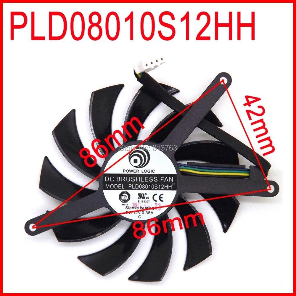 POWER LOGIC PLD08010S12HH DC BRUSHLESS FAN 12V 0.35A 75mm 86x86x42mm For MSI GTX 580 GTX 460 GTX560 Video Card Fan 4Pin
