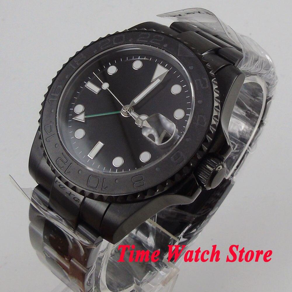 Parnis 40mm men's watch black dial luminous ceramic bezel PVD case sapphire glass GMT Automatic wrist watch men 524