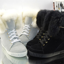 Winter Lace-Up Warm Fur Snow Boots New Fashion Metal Decorated Wool Boots Round Toe Height Increasing Solid Anckle Shoes Women