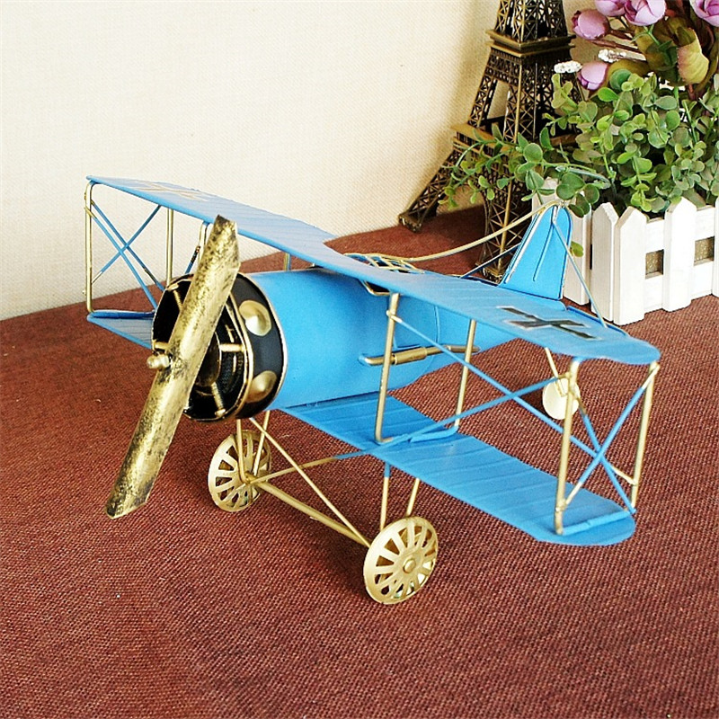 Large Iron Wings Airplane Model Metal Craft Vintage Aircraft Decor Toy Gift for Home Office Decoration Prop Accessory 27*31*14cm