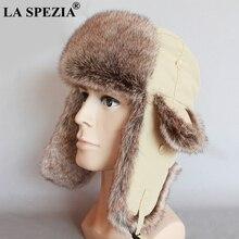 LA SPEZIA Trapper Hats Solid Beige Mens Bomber Hat Windproof Thicker Russian Fur Ushanka Soviet Ear Flaps Outdoor Pilot