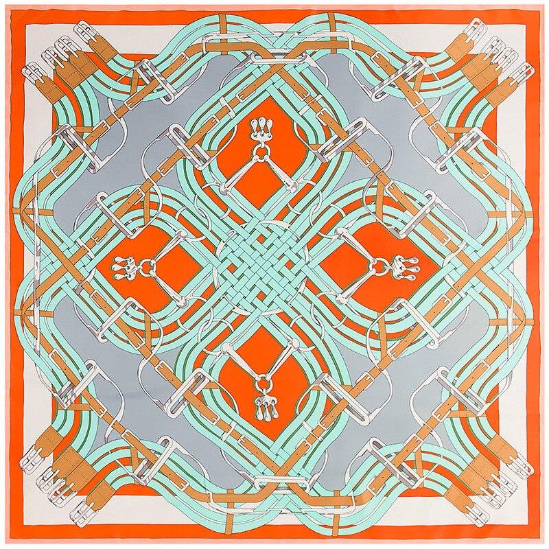 130cm New Twill Silk Scarf Fashion Design Bandana Belt Button Printing Winter Scarf Luxury Brand Silk Scarves Women Shawls Wrap