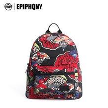 Epiphqny известный бренд Для женщин печати рюкзак холст Packbag Винтаж Национальный Дорожные сумки школы backbag для Обувь для девочек