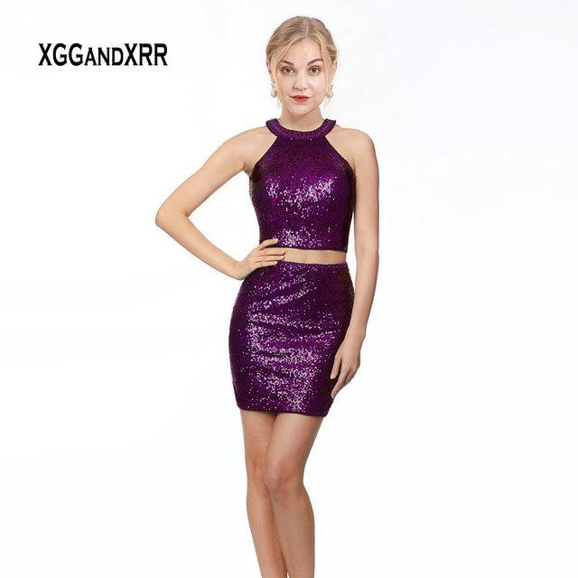 Elegant Sequin Two Pieces Short Prom Dress 2019 Purple Cocktail Dress Halter Off Shoulder Black Mini Formal Party Dress Burgundy