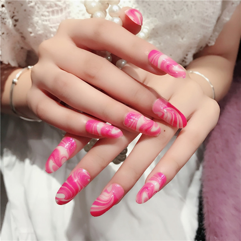Long Press On Nails Rose White Cream Pattern Round Lady Acrylic Nail ...