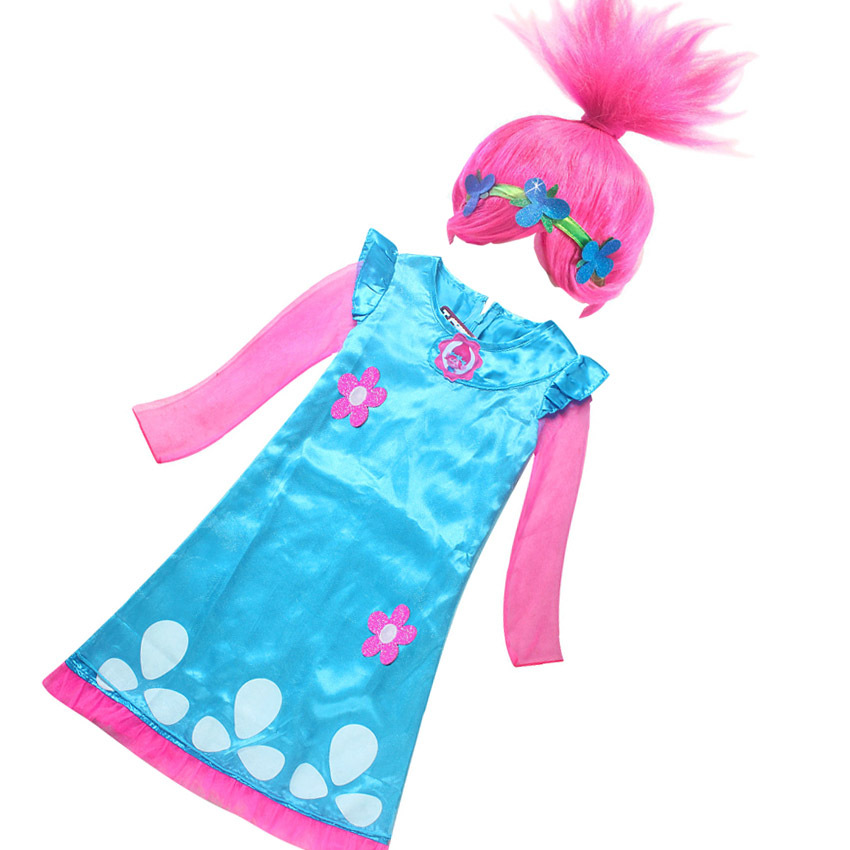 Trolls Poppy Magic Clothes Children Costumes For Girls Kids Costumes Summer Girl Dress Trolls Birthday Party Dress Wig +dresses