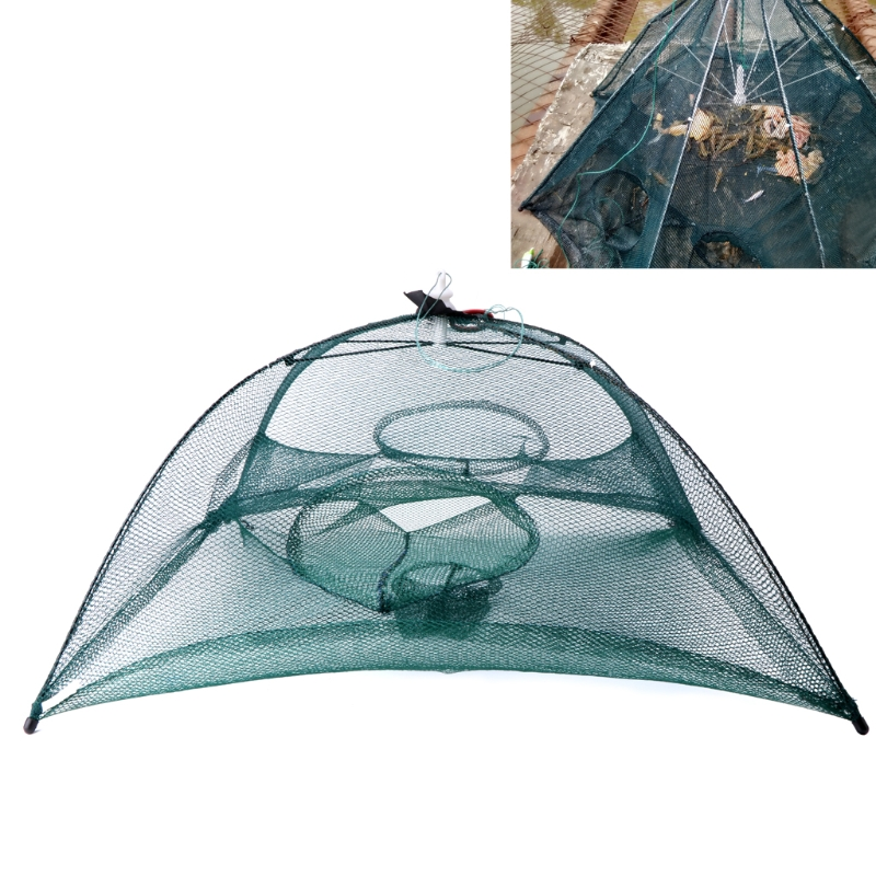 Automatic Portable Fishing Net Shrimp Cage Nylon Crab Trap Cast Network 4 Holes