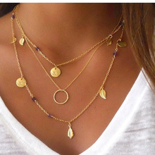 Pameng New Silver Color chain leaves multi layer pendant necklace  for women Collier femme fashion jewelry 2017 Gold Color