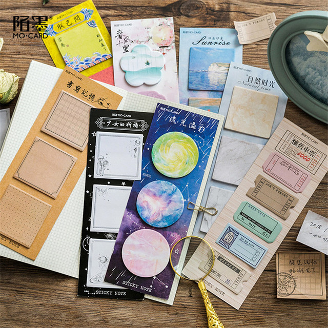 Vintage Ticket Cute Sticky Notes Stationery Kawaii Stickers Scrapbooking Papeleria Stickers planner Memo pads Planner 02010