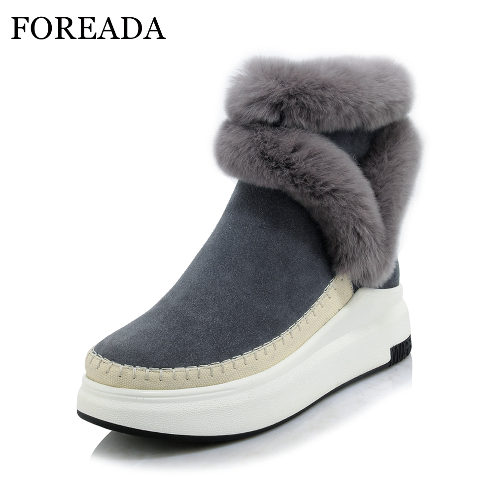 FOREADA Genuine Leather Boots Winter Women Real Rabbit Fur Ankle Boots Sewing Platform Wedge High Heel Snow Boots Zip Lady Shoes foreada genuine leather boots winter women real rabbit fur ankle boots sewing platform wedge high heel snow boots zip lady shoes