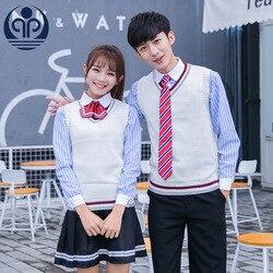 Ученическая школьная форма V воротник свитера жилет школьная Униформа школьная форма для японской средней школы моды равномерное класса с ...