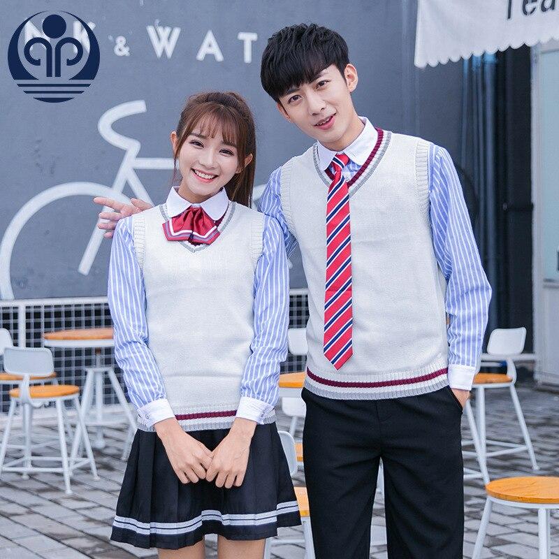 Student School Uniform V Collar Sweater Vest School Uniform JK Uniform Fashion Uniform Class Long Sleeve 4pcs  D-0582