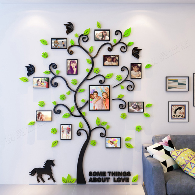 3D Arcylic DIY Family Photo Frame Tree Wall Sticker Home Decor Living Room Bedroom Art Picture Frame Wall Decals Poster