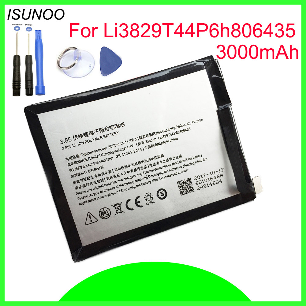 Li3829T44P6h806435 ISUNOO 3000 mAh Para ZTE Nubia Z11 NX531J Bateria Com Ferramentas