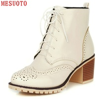 Retro Vintage Brogue Cut Out Thick Heels Rubber Sole Lace Up Round Toe Womens Riding Boots