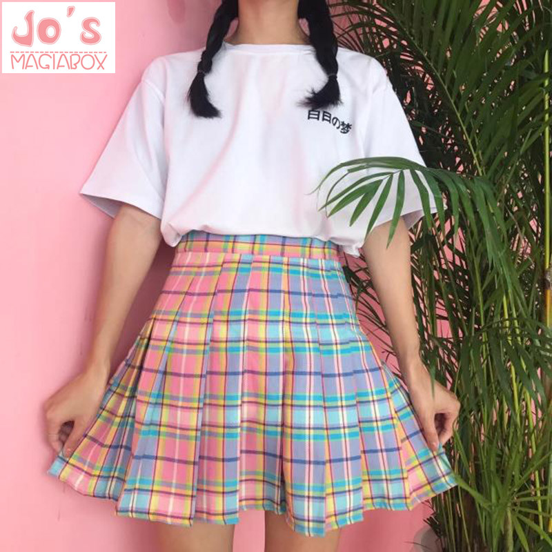 New! Rainbow Plaid Skirt Women <font><b>Kawaii</b></font> <font><b>Harajuku</b></font> Mini Pleated Skirt Korean Uniform Midi Skirt Cute High Waist <font><b>Sexy</b></font> Female Bottoms image