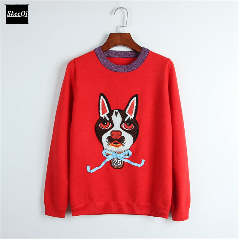 2018 New Fashion Sweater Female Pullovers Cartoon Cat Embroidery Diamond Bow Knit Sweaters Pullover Runway Designer Tops Jumper