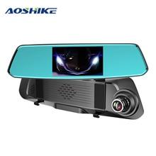 AOSHIKE 5.0 Cal IPS ekran o wysokiej rozdzielczości z przodu i z tyłu HD 1080 P z dwoma obiektywami rejestrator jazdy samochód DVR Night Vision z dwoma obiektywami