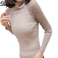 6fe6c323b4709 Dingaozlz Autumn Winter Sweater Long Sleeve Sueter Pull Femme Women Turtle  Neck Button Lace Knitted Pullover
