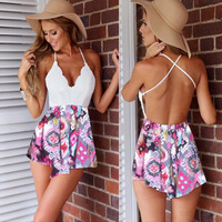 2016 Sexy Rompers Womens Summer Jumpsuit High Waist Gorgeous Multi Straps Print Backless Playsuit Shorts Jumpsuits