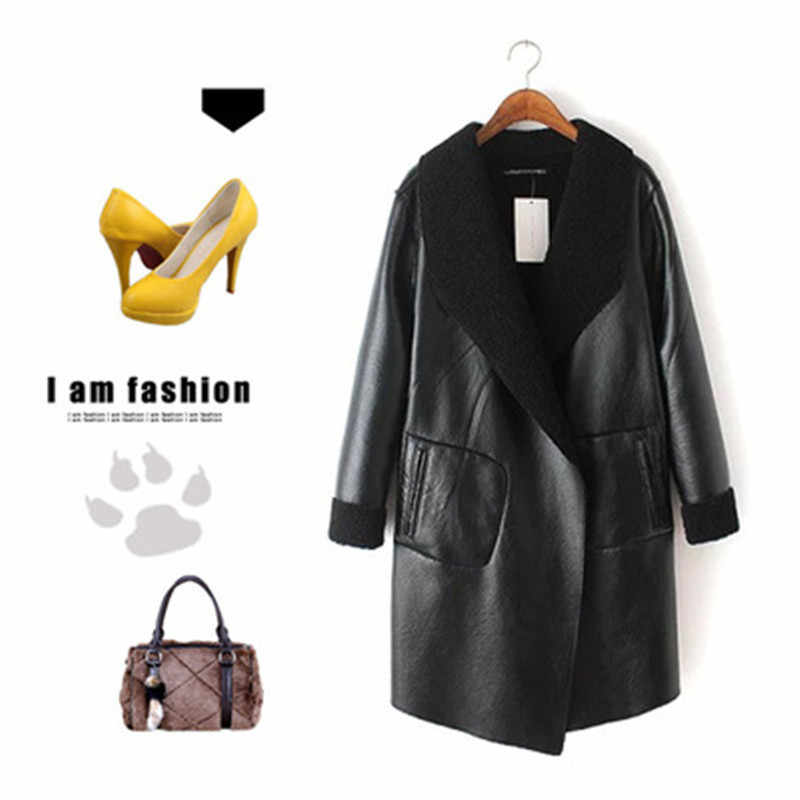 Women's  Autumn Winter Lamb Cashmere PU Leather Jackets Long Large Size Thick Lambskin Cardigan Outerwear Coats Plus Size W214