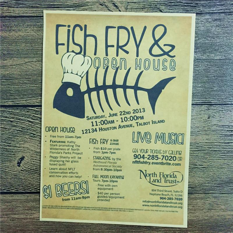 Direct selling PSJ-184 home decor kraft paper Fish fry for kichen wall sticker vintage poster bar cafe living room 42x30 cm