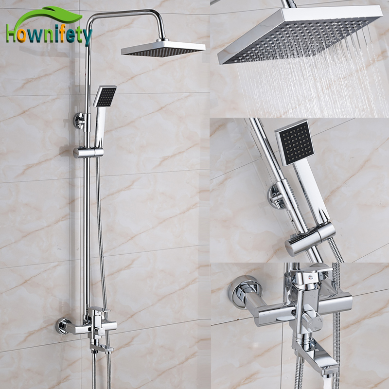 Chrome 8 Inch Rainfall Shower Head Bathroom Shower Faucet Bathtub Mixer Tap Wall Mount free shipping polished chrome finish new wall mounted waterfall bathroom bathtub handheld shower tap mixer faucet yt 5333
