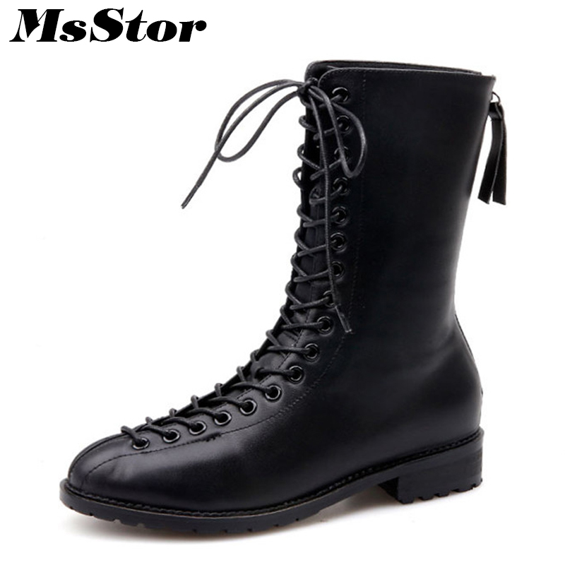 MsStor Round Toe Square Heel Flat Boots Shoes Woman Casual Fashion Metal Zipper Cross-tied Boots Women Shoes Mid-Calf Boots 2018 beauty vogue socks boots women shoes stacked heel pointed toe square heel shoes woman mid calf boots ladies shoes green khaki