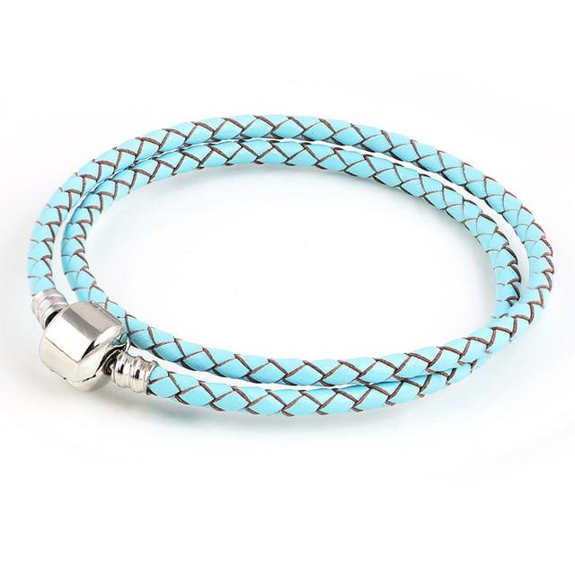 Niebo niebieski prawdziwej skóry DIY podwójne wiersz łańcuch srebrny kolor klipsy bransoletki do metalu szkła europejskie Big Hole koraliki Charms