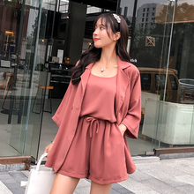 2019 Autumn New Womens Three-piece Set Korean Fashion Casual Solid Coat and Sling Shorts Femael 3 Piece Single Button