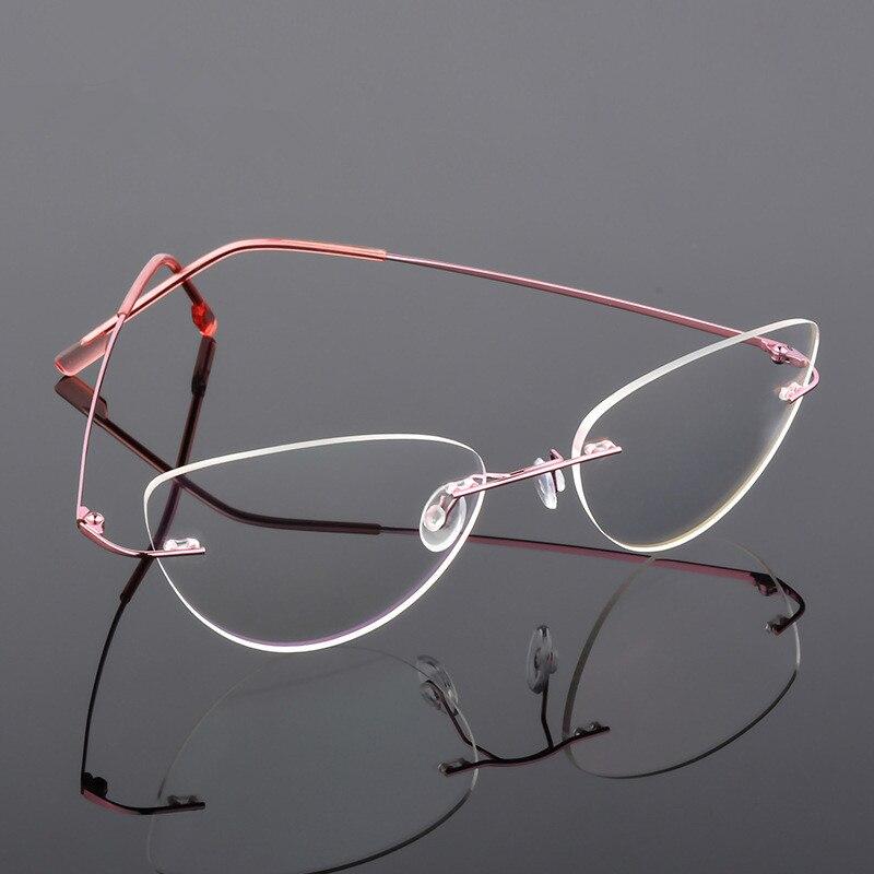 Cat Eye Style Foldable Ultra-light Memory Titanium Alloy Rimless  Myopia Eyeglasses Optical Glasses Frame Men Optics Eyewear