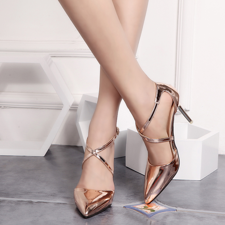 ФОТО Free shipping summer new high-heeled gold sandals hollow cross straps fine with pointed shoes