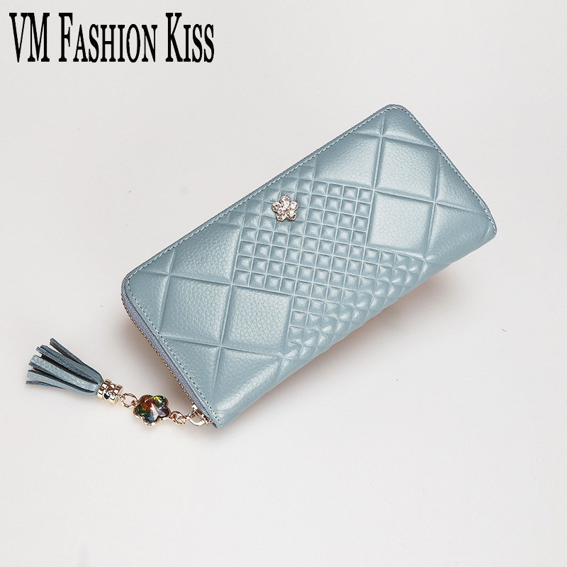 VM FASHION KISS 100%Genuine Leather Luxury Women Long Clutch Wallets Diamond-studded Tassel Purse Coin Purse Mobile Wallet