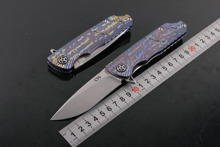 folding knife tactical Flipper ball bearings D2 blade TC4 titanium handle camping survival knife EDC tool CH3501 design efeng moon folding knife d2 blade tc4 titanium handle ball bearing flipper tactical camping tool knife top quality
