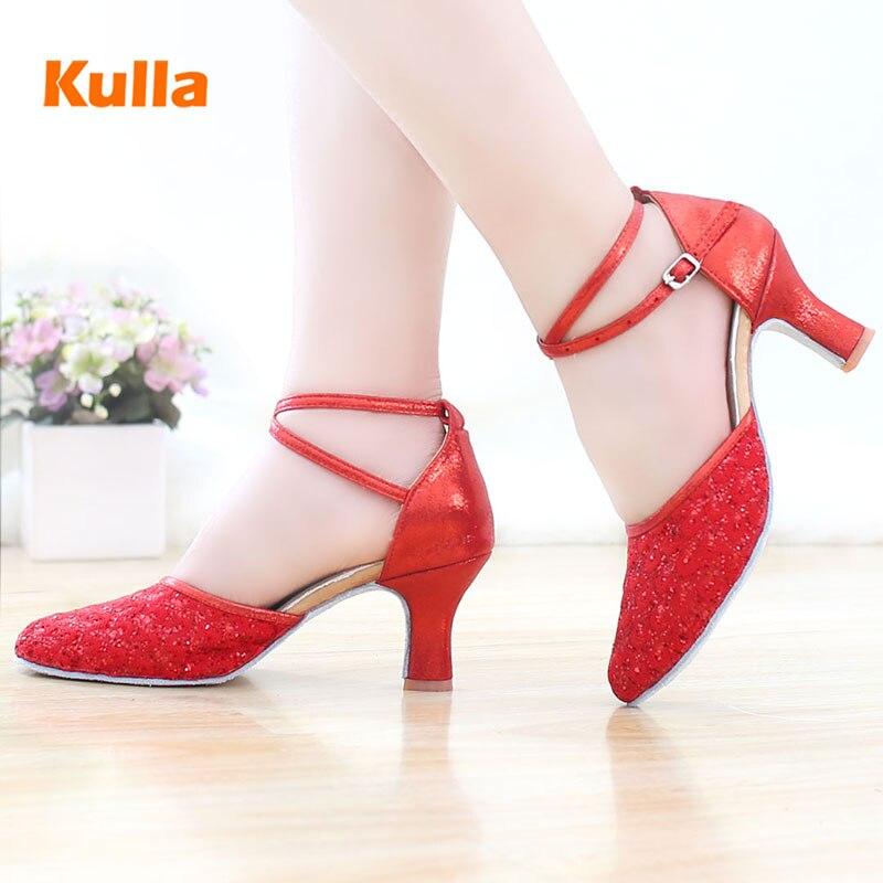 Kulla جديد أحمر أزرق الكبار النساء أحذية الرقص اللاتينية أحذية الرقص السالسا التانغو السيدات لينة أسفل أحذية عالية الكعب اللاتينية الرقص