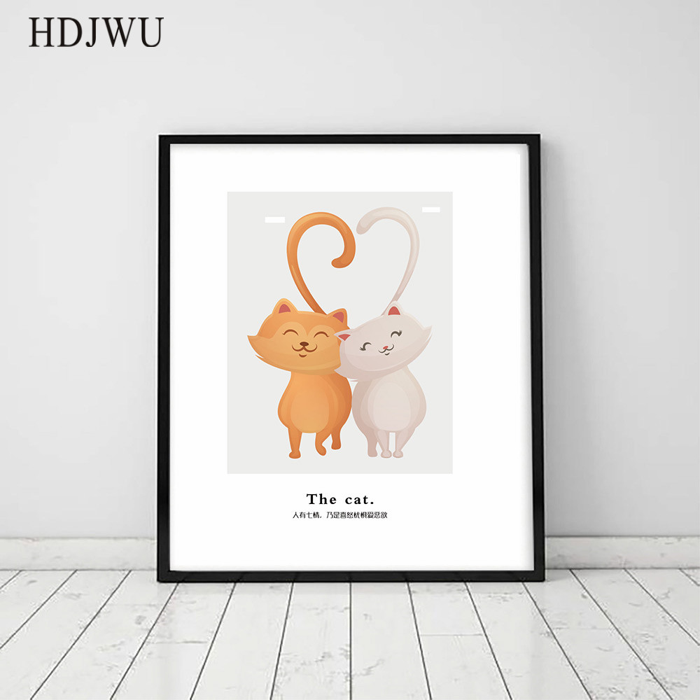 Art Home Decor Canvas Painting Wall Picture Cartoon Cat Printing Posters Wall Pictures for Living Room Bedroom DJ22 in Painting Calligraphy from Home Garden