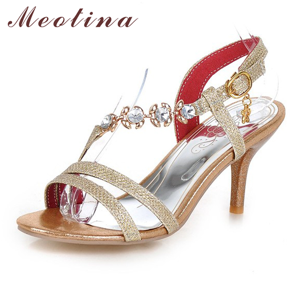 Meotina Shoes Women Sandals Summer High Heels Sandals Party Wedding Silver Shoes Rhinestone Sandals Gold Heels Size 10 12 45 46