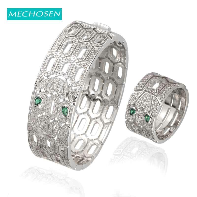 Mechoice célèbre marque de luxe large anneau bracelet ensemble de bijoux vert Zircon Dubai femmes africaines accessoires de mode cadeaux 2019