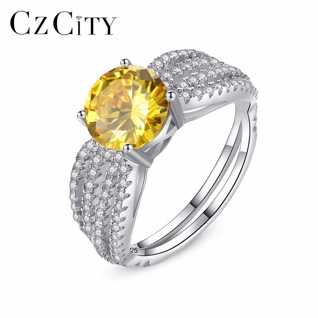 CZCITY Genuine 925 Sterling Silver Luxury Yellow Birthstone Rings for Women Fash