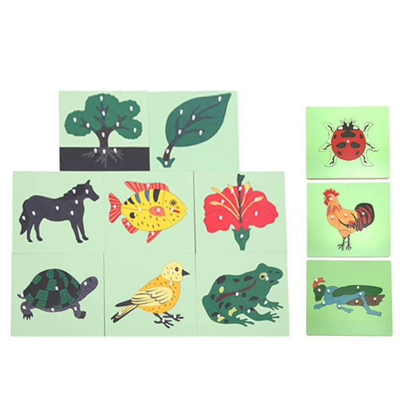 Wooden Toys Animal And Plant Panels Animal Puzzle Extension Nine Panels Mongolian Kindergarten Early Learning Toys For Children