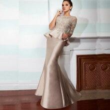 Champagner Vintage Spitze Meerjungfrau Lange Mutter der Braut Kleider Mit Halbarm 2015 Schößchen Formale Abendkleider Plus größe