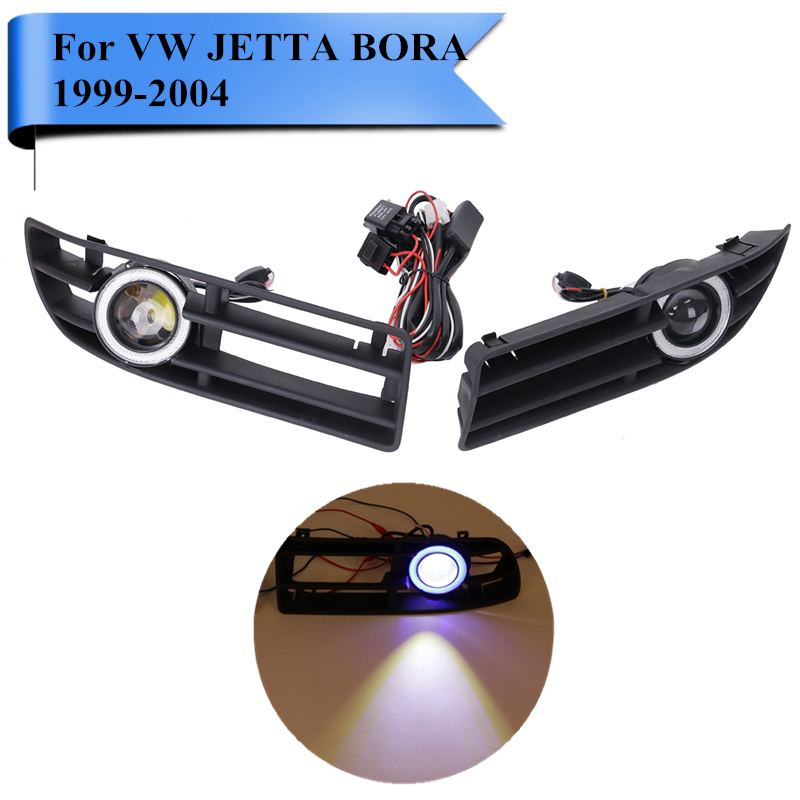 LED Fog Lights For VW Jetta Blue Angel Eyes Convex Lens Front Bumper Grille Grill For VW Bora TDI GL GLS 1999-2004 #P446 1pcs black fouriers bicycle single chain ring p c d 104mm 32t 4mm bike chainrings narrow wide teeth